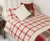 Laura ashley Cranberry Kinross Check King Size Duvet Cover Set With pillowcases