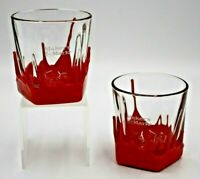 Makers Mark Whiskey 6 Oz. Red Wax Bottom Bourbon Glasses Set of 2 Free Shipping