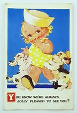 1939 Postcard Girl with Dogs Jolly Pleased To See You Greetings Half Penny Stamp