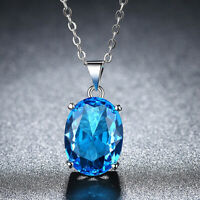 Oval Titanic Ocean Blue Topaz Gemstone Solid Silver Necklace Pendants With Chain