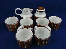 9 piece MidWinter Staffordshire England 6 Cups, Creamer and Sugar w/Lid