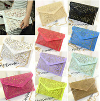 Womens Handbag Envelope Clutch Chain Foil Floral Purse Lady Shoulder Evening Bag