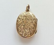 PRETTY ANTIQUE ROLLED GOLD OVAL LOCKET PENDANT