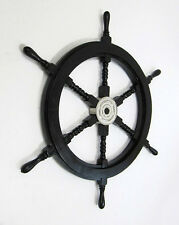 """Black Pirate Ship's Steering Wheel 30"""" Wooden Nautical Wall Decor New"""