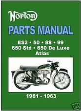 NORTON Parts Manual ES2 50 88 99 650 Atlas 1961 1962 & 1963 Spares Catalog