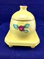 Vintage Yellow Coors Pottery Rosebud Honey Pot (M8)