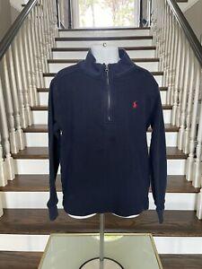 Polo Ralph Lauren Boy's Navy 1/4 Zip Long Sleeve Sweater Sweatshirt Size 7 EUC