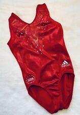 GK ELITE gymnastics ADIDAS Leotard USA Bling SWAROVSKI Rhinestone RED Sz: CL