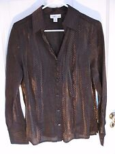 Coldwater Creek V-neck Collared Button Blouse Shirt Black Gold Stripe Size M