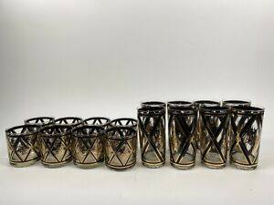 16 Lot CULVER Mid Century Modern Barware 22K Gold & Black Retro Glasses Diamonds