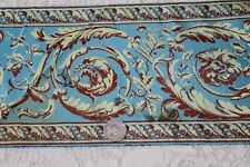"Antique c1870 Blue French Scrolly Silk Jacquard Border Yardage~L-165""X W-6"""