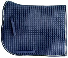 PRI Extra Long Monarchy Dressage Pad: Quilted w/Piping  Navy/Gold