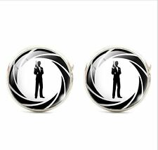 007 CLASSIC JAMES BOND  SILVER PLATED  CUFFLINKS  BRAND NEW