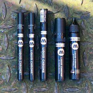 3x Molotow Liquid Chrome Markers - 1mm / 2mm / 4mm / 1x 5mm / 1x 30ml Refill