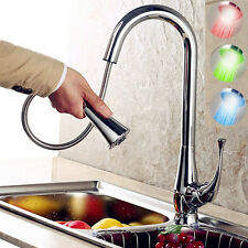 Modern Kitchen Sink Basin Pull Out Spray Mixer LED Tap Chrome Brass Faucet Bath