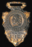 1915 ANNUAL CONVENTION IN ONEIDA NEW YORK NY ARROWHEAD FOB NATIVE AMERICAN CHEIF