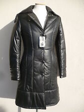 new WOMAN lamb GENUINE LEATHER COAT BLACK XS 34 USA ITALY 44 new soft !