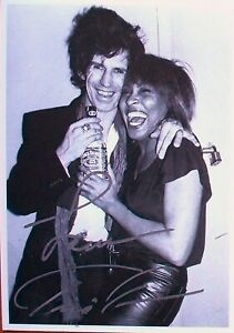 TINA TURNER: Rare hand-signed postcard with Keith Richards. 'Private Dancer'.