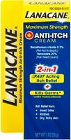 Lanacane Maximum Strength Anti-itch Cream 2in1 Fast Acting Itch Relief 1 oz