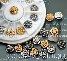 12pcs Nail Art Tips Decoration Rose Jewelry Glitter Rhinestone+Wheel (SET NO.13)