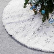 USA NEW Christmas Tree Skirt Large White Luxury Faux Fur Snowflakes Gold/Silver