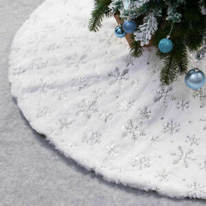 USA NEW Christmas Tree Skirt Large White Luxury Faux Fur Snowflakes Gold/Silver