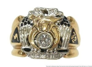 Vintage Masonic .40ct Diamond Mens Ring White Yellow Gold Enamel 32 Degree 14.6g