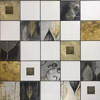 Wallpaper textured tiles modern wallcoverings rolls white black gold metallic 3D
