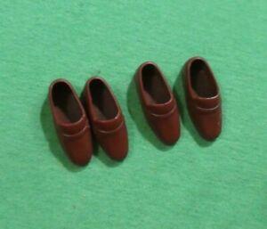 Vintage Ken Doll Clothes - MOD Era Squishy Brown Loafer Shoes
