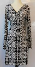 NWT NICOLE MILLER Womens Geometric Print Long Sleeve Wrap Dress Size 14