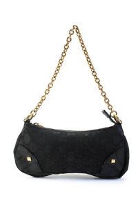 Gucci Womens Guccissima Gold Tone Satchel Shoulder Handbag Black