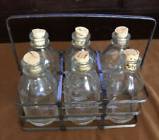 New Listing6 Rustic Farmhouse Style Glass Bottles/corked in Metal/Caddy Rack/Handle New!