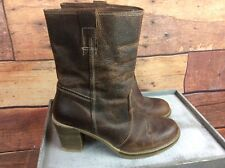Womens Next Brown Leather Boots Uk 3.5 Very Good Condition S3