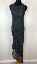 Anna Sui Green Vintage Knit Mohair Sleeveless Asymmetrical Maxi Dress Size 6