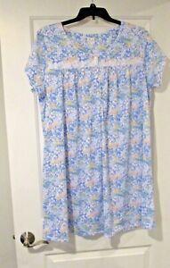 Aria womens short nightgown plus size 1X blue flower NWT
