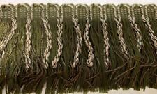 "4"" Olive Khaki Bullion Chainette Fringe Fabric Trim 6 Yards"