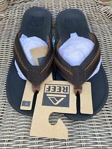 REEF Men's Leather Ortho-Bounce Coast Sandals Black Brown Size 11 RF0A3YKR