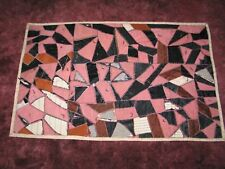 "Antique Crazy Quilt-FAN-39 X 61"" Ornate Stitching Vintage-Silk-"