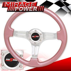 350mm 6 Bolts Hole 3 Spokes Steering Wheel Pink Trim Godsnow Horn