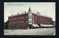 Rochester Indiana IN 1910 Arlington Hotel on Corner, Restaurant on Side, Block