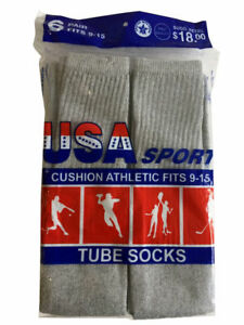 """12 Paris Mens Cotton Athletic Sports Tube Socks 26"""" Size 10-15 Grey Made For USA"""