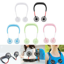 Portable USB Rechargeable Neckband Lazy Neck Hanging Dual Cooling Mini Fan US
