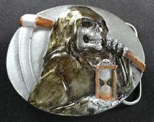 DEATH SKULL GRIM REAPER SCYTHE HOLDING TIME HOURGLASS IN HAND BELT BUCKLE USA
