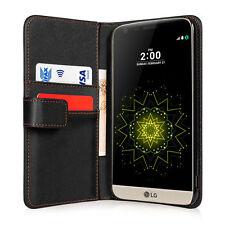 Yousave accessories noir pu cuir rabat portefeuille téléphone étui housse pour LG G5