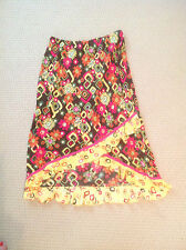 MAXI SKIRT SIZE XL BY BAMBOO TRADERS, LI-LO RUFFLED HEM, BRWN, YEL, PINK, GRN OR