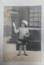 AK Neujahrskarte Fotokunst Kind Mädchen mit Mistelzweig gel. 1917