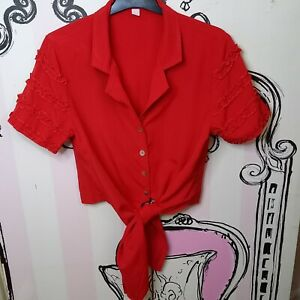 Size 12 Vintage Red Cropped Tie Bottom Ruffle Sleeve Shoulder Pads Shirt Blouse