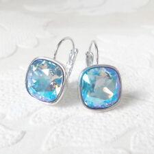 Rainbow Sky Blue Crystal Drop Earrings made w/ Cushion Cut Swarovski Rhinestones