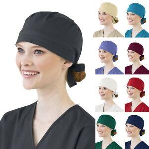 Surgical Scrub Cap Medical Doctor Nurse Cotton Bouffant Hat Adjustable HeadCover