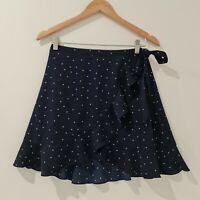 Show Po Women's Wrap Mini Skirt Size 8 Navy White Polka Dot Good condition
